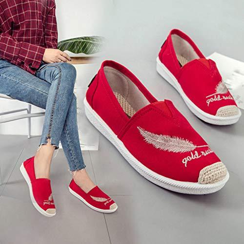 Casual Plat Plat Confortable Uni Rouge Bout Rond Mocassins Style De Femme Grand Plat Élégant Brodé Toile Chaussures Tigre Polpqed RxYqtPwP