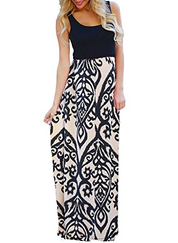 OURS Women's Sexy Sleeveless Round Neck Floral Long Maxi Tank Dresses (Khaki, M)