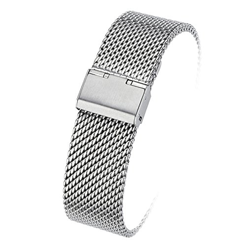 Milanese Loop Stainless Steel Watch Band Smart Watch Strap Mesh Band Bracelet 18mm/20mm/22mm/24mm with Hook Buckle Replacement Wristband - Silver or Black