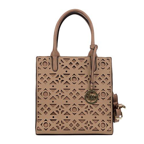 Handbag Republic Women's Vegan Leather Fashion Top Handle Handbag Tote Style Laser Cut Pattern Design