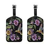Set of 2 Luggage Tags Hummingbirds Embroidery Suitcase Labels Travel Accessories