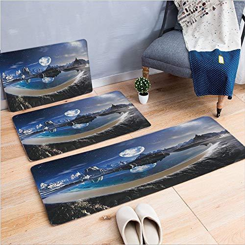 3 Piece Non-Slip Doormat 3D Print for Door mat Living Room Kitchen Absorbent Kitchen mat,Earth in Crystal Pool Alien Planet Fantasy,15.7