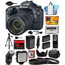 Canon EOS 7D 18 MP CMOS Digital SLR Camera with 18-135mm f/3.5-5.6 IS UD Lens includes 16GB Memory + Large Case + Tripod + Flash + LED Video Light + Two Extra Batteries + Travel Charger + Lens Hood +