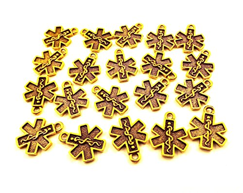 Charms Pewter Cross (Set of Twenty (20) Gold Tone Pewter EMS/EMT Cross Charms 5042)