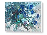 White Blue Pansy Print on Canvas Ready to Hang Floral Wall Art Italian Artwork Impressionist Home Decor Living Room Bedroom Christmas Gifts Woman Men from Original Painting Agostino Veroni