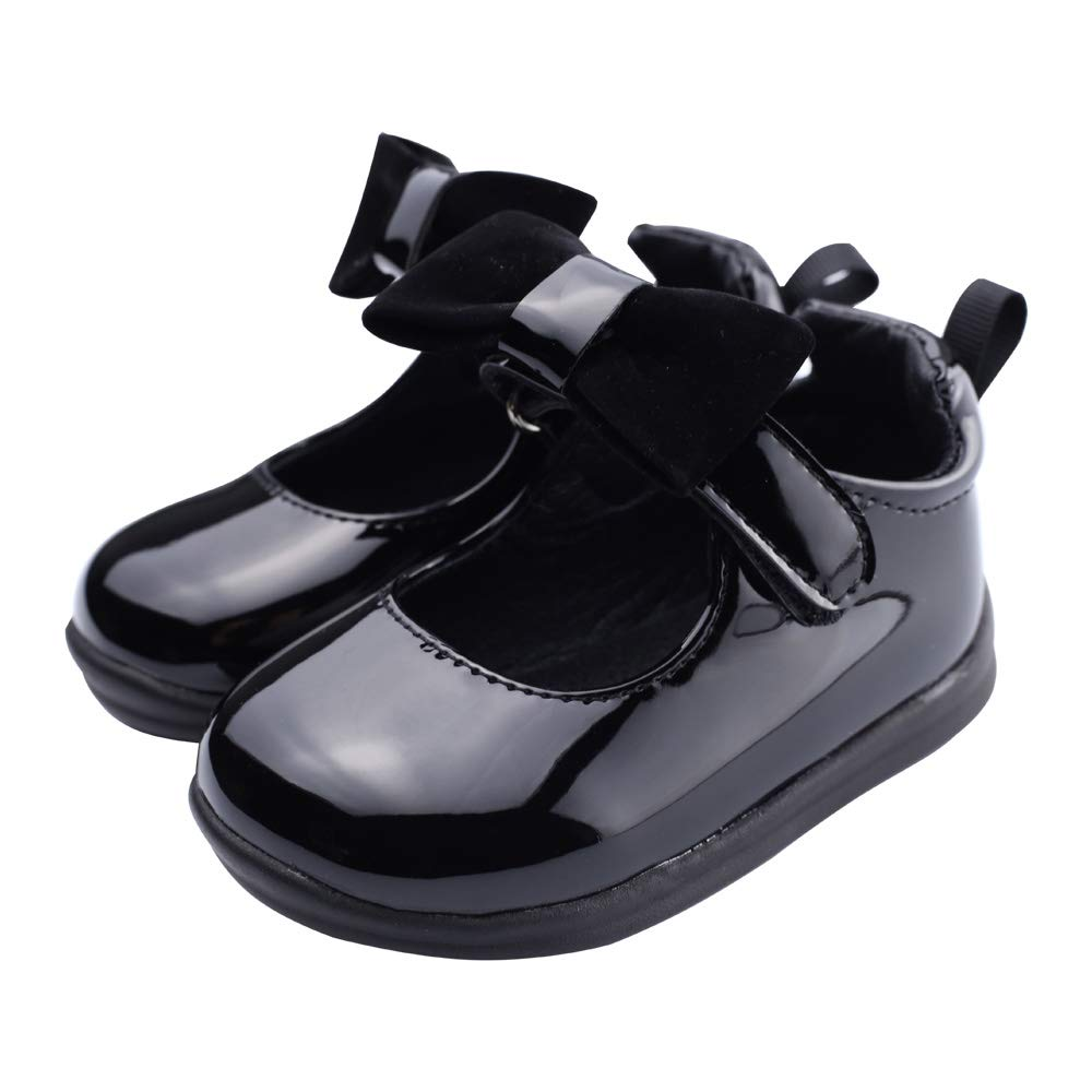 Muy Guay Baby Girls Mary Jane Toddler Girl Bow Princess Dress Shoes with Nonslip Rubber Sole Infant Walking Flat 12 18 24 Months