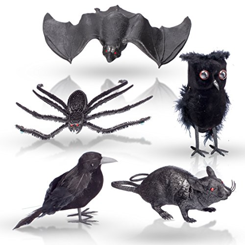 "[Halloween Home Decoration 5 Pc Set – 1 Black Feathered OWL and CROW, 1 Squishy Rubbery BAT, 1 Big 10"" CREEPY SPIDER and 1 Squeaking RAT] (Scarry Halloween)"