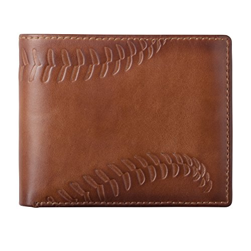 (HOJ Co. BASEBALL Wallet-Double ID Bifold-Full Grain Mens Leather Wallet-Multi Card Capacity-Coach Gift)