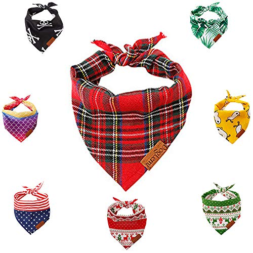 Mycicy Dog Bandana Christmas Classic Plaid Cute Printing Bibs Adjustable Triangle Scarf Kerchief Accessories Puppy for…