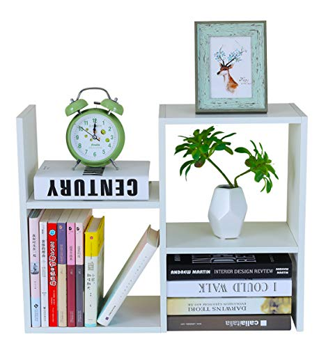 PAG Desktop Bookshelf Freestanding Wooden Countertop Bookcase Accessories Organizer Display Rack Dorm Desk Storage Shelf, White ()