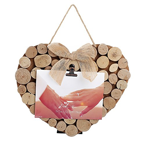 Aike Home Heart Shape Wooden Wedding Photo Prints Display with Real Tree Root Clips Bowknot Rope and Easel on Backing Nature Wood Finish for 4X6 or 5X7