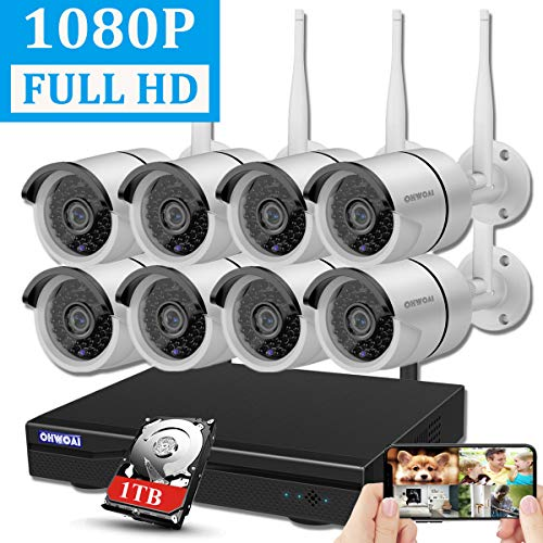 【2019 Newest】OHWOAI Security Camera System Wireless, 8CH 1080P NVR,8Pcs 1080P HD Outdoor/ Indoor IP Cameras,Home CCTV Surveillance System(1TB Hard Drive)Waterproof,Remote Access,Plug&Play,Night Vision