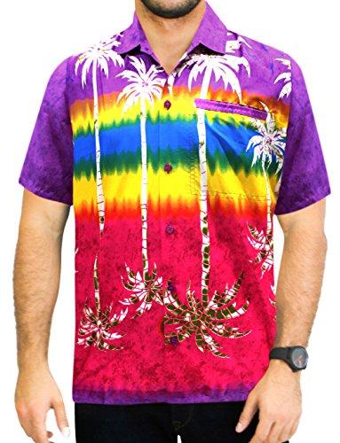 La Leela* Bouton de Palmier DHomme Poche à Manches Courtes Violet Chemise Hawaïenne Viole