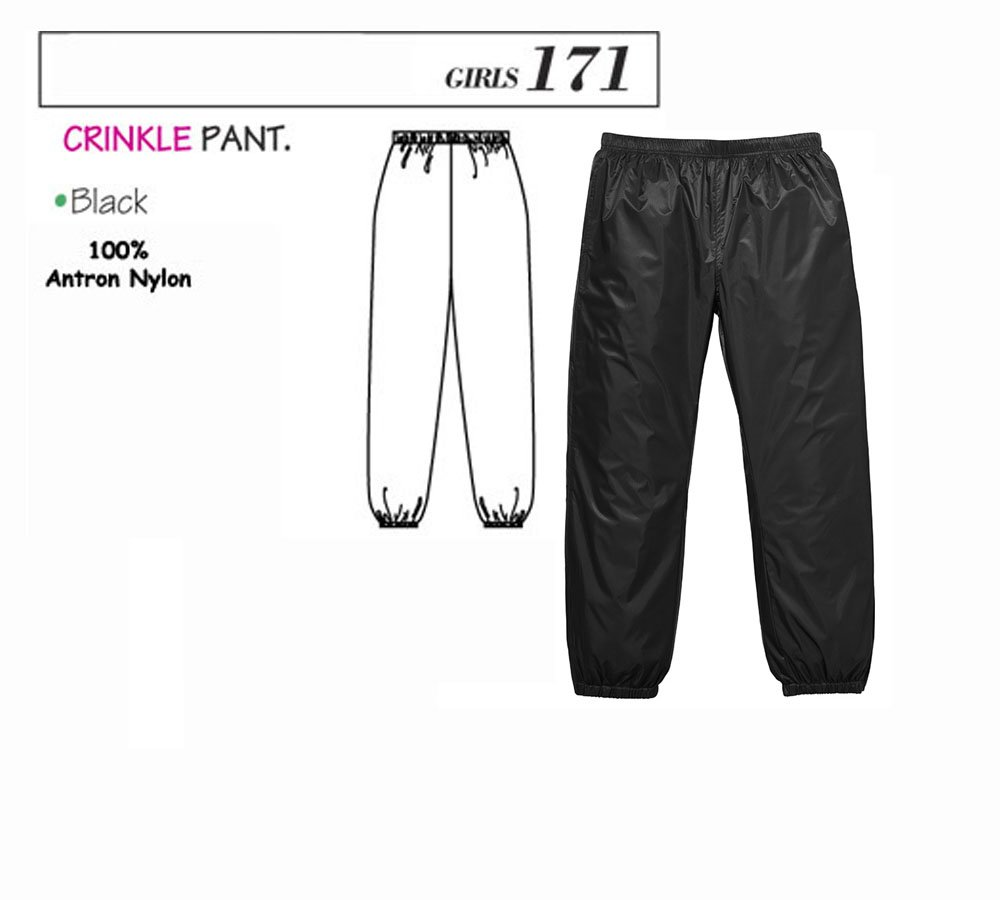 Body Wrappers 171 Black Crinkle Pant Size8-10 Child 100% Antron Nylon