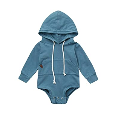 c93b57fdd Amazon.com  Newborn Infant Baby Boy Girl Hooded Romper Sweatshirts ...