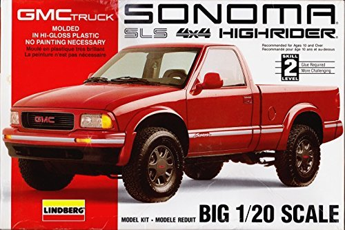 Lindberg 72512 1994 GMC Sonoma SLS 4x4 Highrider Truck 1:20 Scale Plastic Model Kit - Requires Assembly