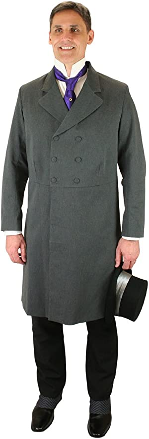 Victorian Mens Suits & Coats Historical Emporium Mens Double Breasted Cotton Blend Frock Coat $188.95 AT vintagedancer.com