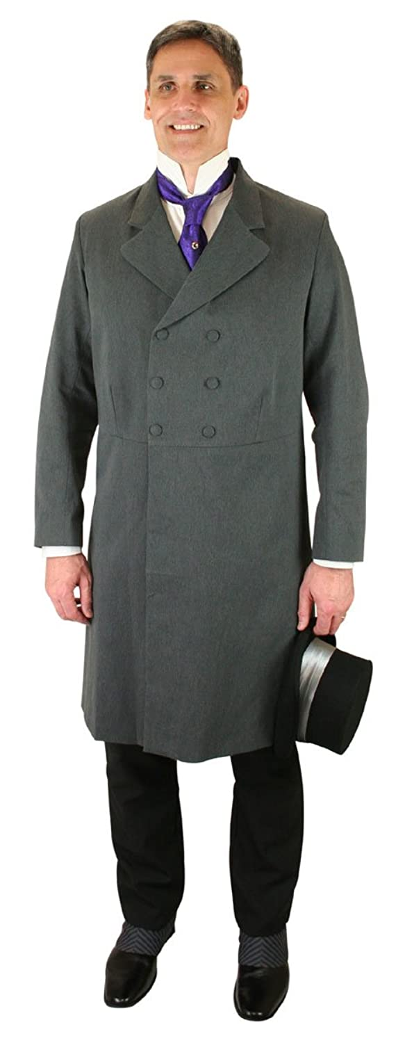 Men's Steampunk Jackets, Coats & Suits Historical Emporium Mens Double Breasted Cotton Blend Frock Coat $169.95 AT vintagedancer.com