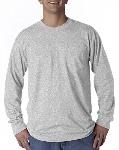 Bayside 8100 Pocket Long-Sleeve Tee Ash X-Large ()