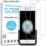 iPhone 6S 6 Tempered Glass Screen Protector for Apple iPhone 6S 6, 0.2mm Ultra-Thin (Twice Tempered), Super Strong 10H Hardness, Easy-Applied Fixture, Bubble Free, Proud-Focus Screen Protector 2-Pack