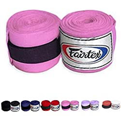 Fairtex Elastic Cotton Handwraps HW2 Hand Wraps Color Black Bleach Blue Red White Pink Purple Thaialnd used in Muay Thai, Boxing, Kickboxing, MMA (HW2, Pink)