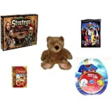 Children's Fun & Educational Gift Bundle - Ages 6-12 [5 Piece] - The Lord of The Rings Stratego Game - 1993 Mighty Morphin Power Rangers Notepad - Soft and Cuddly Brown Teddy Bear - Adventure Guide