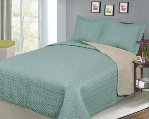 Baltic Linen  Luxury Fashionable Reversible Solid Color Mini Quilt Sets,Camel/Sage
