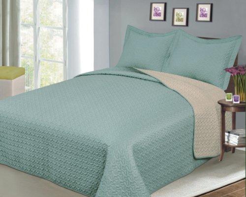 Baltic Linen Company Luxury Fashionable Reversible Solid Color Mini Quilt Sets, Twin, Camel/Sage (Linen Quilts)