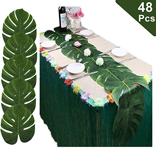 - LJDJ Artificial Palm Leaves - Set of 48 - Large 13.8 Inch Tropical Monstera Leaves Decorations Artificial Silk Fabric Plant Leaves for Hawaiian Luau Safari Jungle Beach Baby Shower Party Supplies