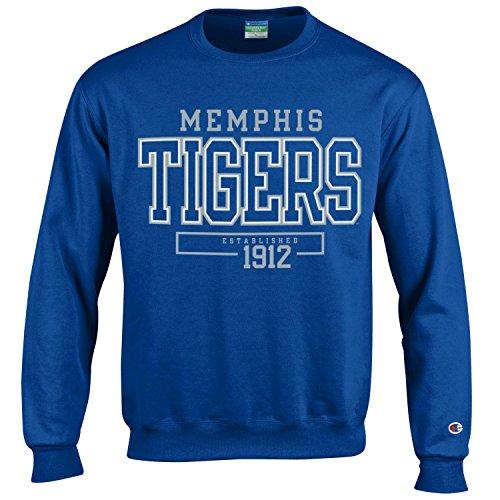 (Champion NCAA Men's Long Sleeve Eco Powerblend Sweatshirt Unisex Officially Licensed Crewneck Fleece Memphis Tigers)