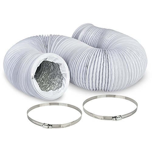 8'' Air Duct - 8 FT Long, White Flexible Ducting with 2 Clamps, 4 Layer HVAC Ventilation Air Hose - Great For Grow Tents, Dryer Rooms, House Vent Register Lines by TerraBloom (Image #1)