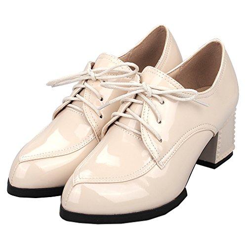 ENMAYER Mujer PU Bloque Mediados de Tacones Encaje hasta Loopers Oficina Oficina Señora Corte Zapatos Oxford Zapatos Botas Ankle Albaricoque#727