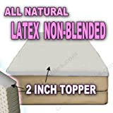 All Natural Latex Non Blended Mattress Topper with Preferred SOFT Firmness 2 inch thick - QUEEN