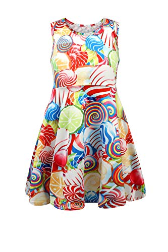 JNKLWPJS Girls Summer Sleeveless Dress Round Neck Printed Casual Sundress Lollipop 3-4 Years