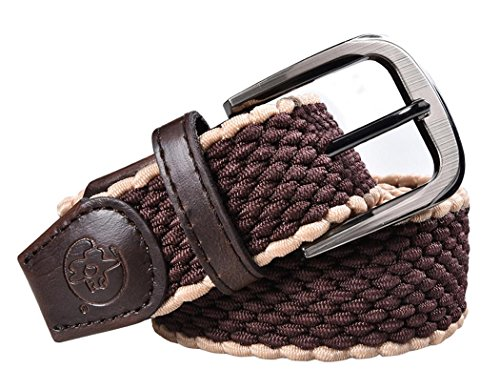 [Booty Gal Men's Elastic Braided Stretch Belt with Covered Buckle] (Leather Covered Buckle Belt)