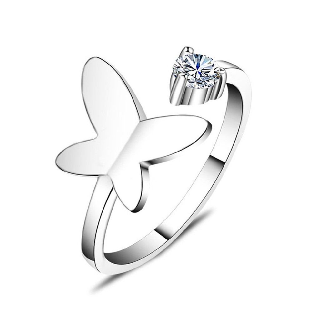 Acxico Adjustable Butterfly with Heart Shape Crystal Inlaid Ring