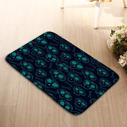 zexuandiy Place Mats Washable Fabric Placemats for Dining Room Kitchen Table Decor 23.6x15.7 Doodle Calavera Sugar Skulls Blue Halloween Dia de mu -
