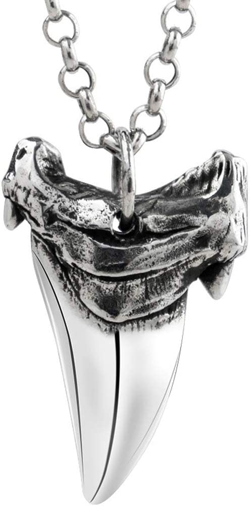 925 Silver Shark Tooth Pendant Necklace, Vintage Punk Street Titanium Steel Clavicle Necklace Pendant Necklace Men and Women Jewelry