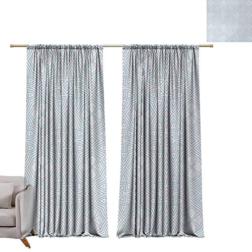 berrly Drapes for Dining Room Celtic,Pale Colored Square and Star Shaped Original Retro Tribal Celtic Knot Patterns,Soft Blue Grey W72 x L96 Art Room Curtains