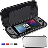 Sahiyeah Case for Nintendo Switch Hard Protective Durable Shockproof Carrying Bag Travel with 5 Game Holder for Switch Console and Accessories,Silver [Nintendo_Switch]