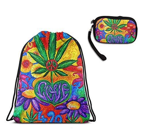 Men & Women Gym Swim Drawstring Bag, Shopping Sport Yoga Peace And Love Multi Color Flower Marijua String Bag, Water Resistant, Home Travel Storage Use + Large Capacity Clutch - Chair Bag Bean Volleyball