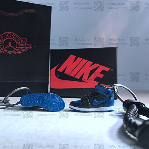 Nike Air Jordan 1 Retro 3D Mini Sneaker keychains Black Toe Bred Royal Blue  Fragment Celtic Chicago (AJ1 Royal Blue with Box) 8a6fd9fa1