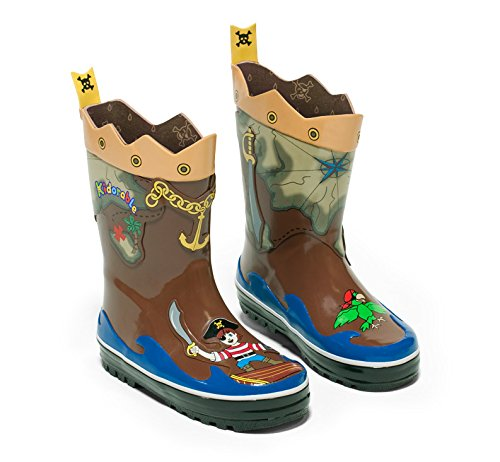 (Kidorable Boys' Pirate Rain Boots, Brown, 13 M US Little)
