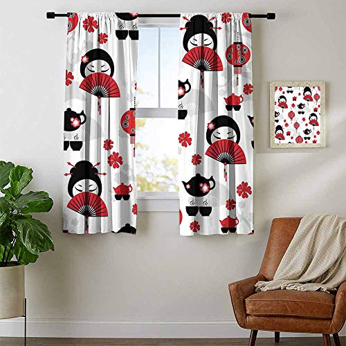 Mozenou Lantern, Curtains Dining Room, Geisha Japanese Fan Ancient Chinese Traditional Tea Pot Lanterns Floral Graphic Design, Curtains for Doors with Windows, W54 x L39 Inch Black Red