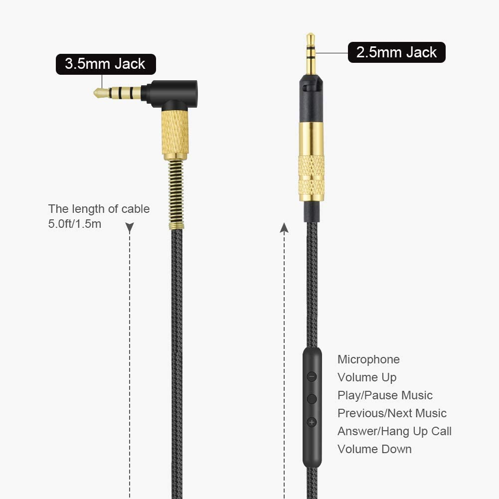 HD598 Cable Replacement AUX Audio Cord with Microphone Compatible with Sennheiser HD518//HD558//HD598 Cs//HD599//HD579//HD569 Headphones Inline Remote Works on iOS and Andriod Devices 2.5mm to 3.5mm