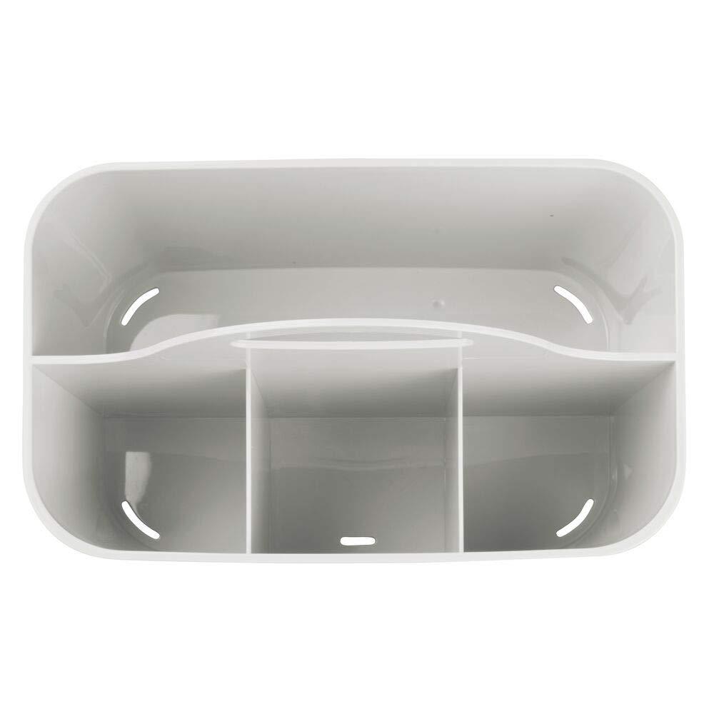 Organizador maquillaje en color blanco Cesta plastico provista de asa para un c/ómodo transporte mDesign cesta organizadora con 4 compartimentos para sus cosm/éticos