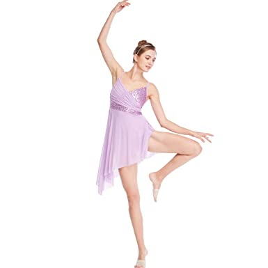 71030db88 MiDee Lyrical Dance Costume Dress Sequined V-Neck High-Low for Girls Women (
