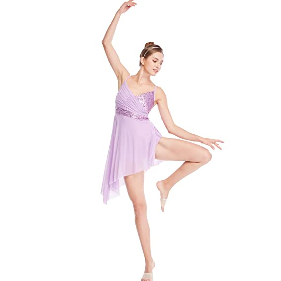 fe5eee068e063 MiDee Lyrical Dress Dance Costume V-Neck Sequins Leotard with Highlow  Skirt: Amazon.co.uk: Clothing