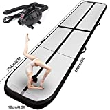 FBSPORT Inflatable Gymnastics AirTrack Tumbling Mat Air Track Floor Mats with Electric Air Pump for Home Use/Training/Cheerleading/Beach/Park and Water Length 9.8foot-(300cm) (Black, 23)