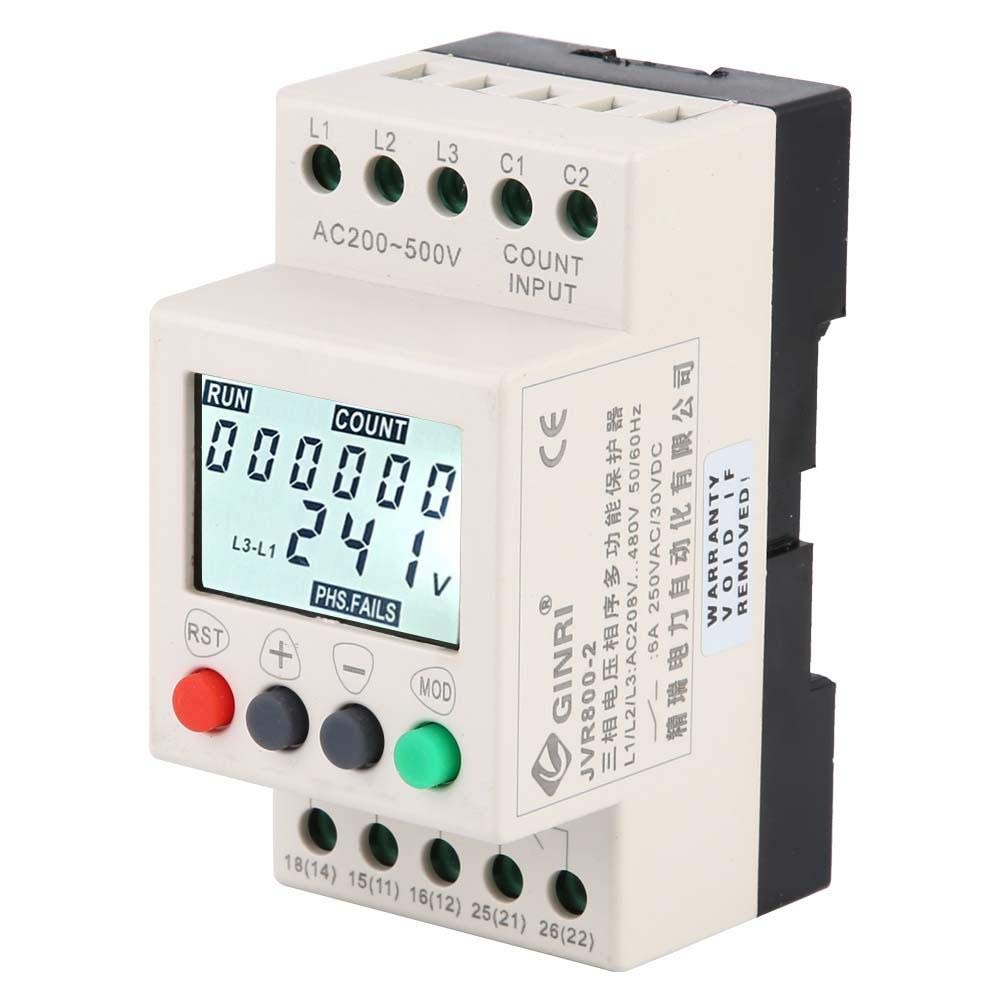 JVR800-2 Voltage Protection Relay,Under Over Voltage Protector 3 Phase Voltage Monitoring Sequence Relay